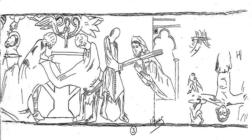 suite 3 de l'interprétation des fresques de Paulhac mur nord