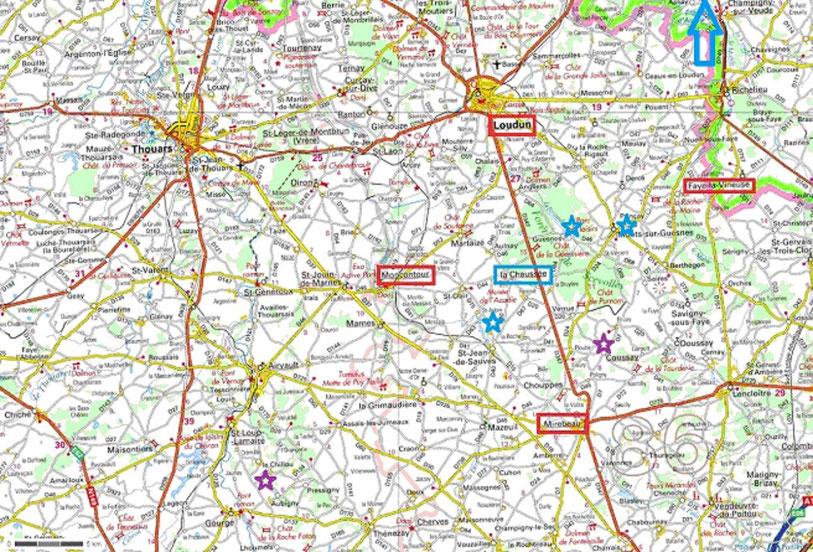 Carte de la région de Loudun montrant Moncontour, Mirebeau, Faye la Vineuse, La Chaussée, la Motte de Saunay, Roches Saint Paul, le Petit Sonnay, Le Rognon, les moulins de Bafolet, Mirebeau
