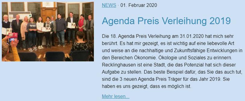 Agenda Preis Verleihung - Lokale Agenda 21 für Recklinghausen