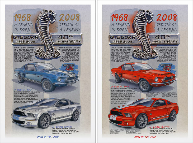 Shelby GT500KR limited and personalized art print