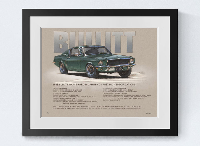 1968 Mustang Bullitt printed drawing