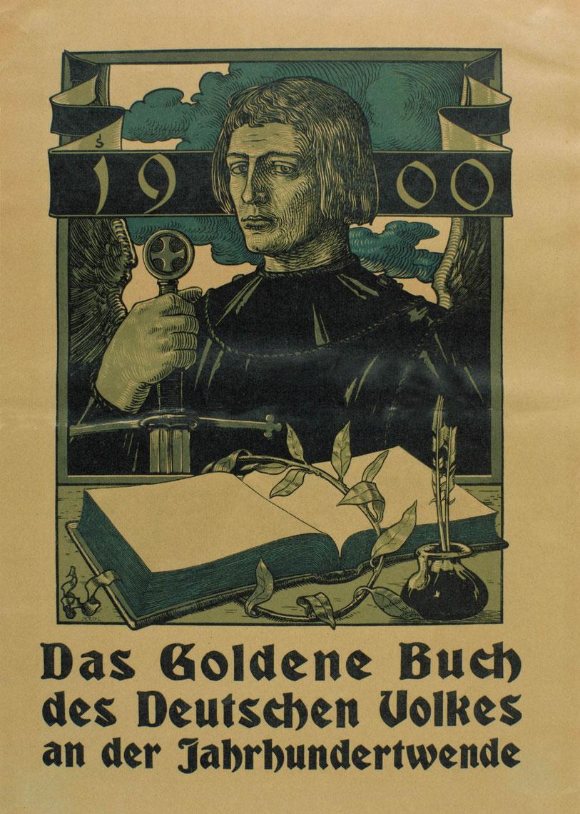 """Plakat für """"Das Goldene Buch des deutschen Volkes zur Jahrhundertwende"""", 1900"""