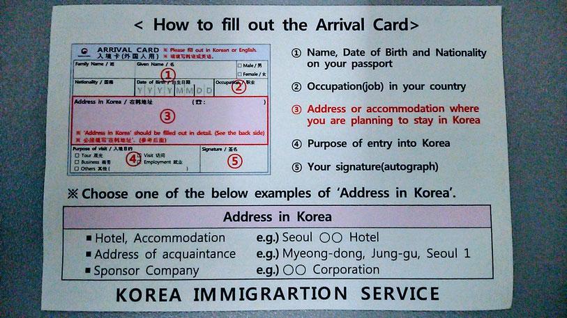 韓国 入国審査