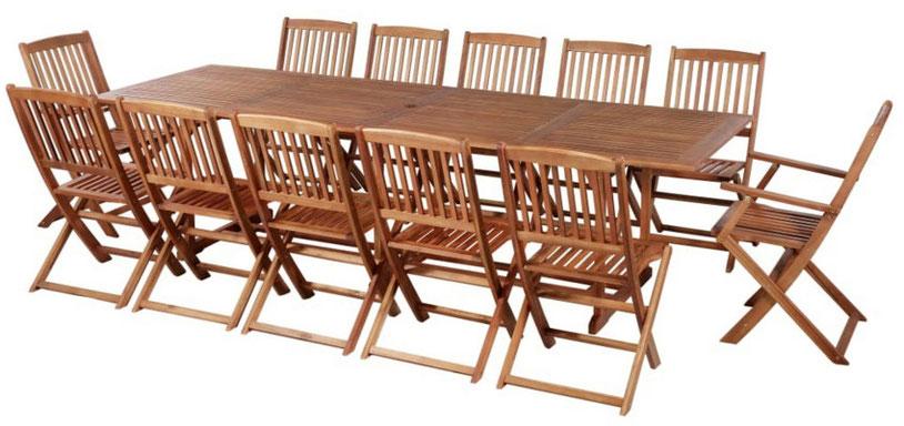 set giardino +acacia +sedie +outdoor +legno +12 +tavolo