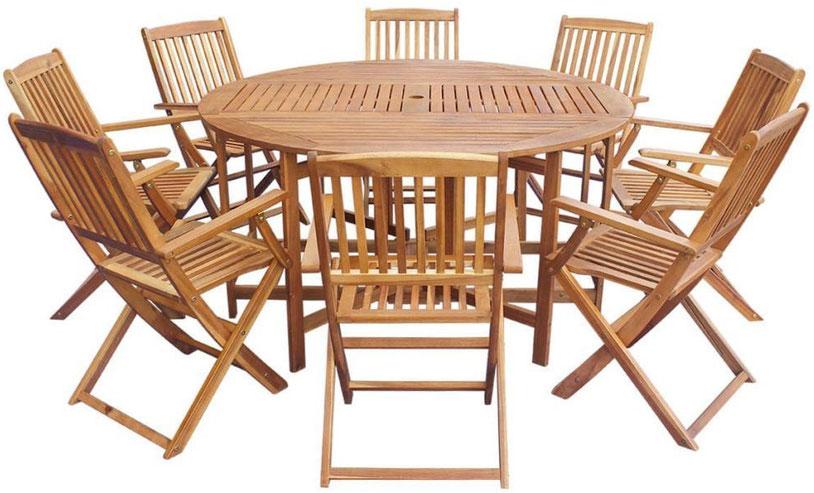 set giardino +acacia +sedie +outdoor +legno +8 +tavolo +sandro shop +online +rotondo +pieghevole