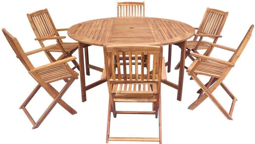 set giardino +acacia +sedie +outdoor +legno +10 +tavolo