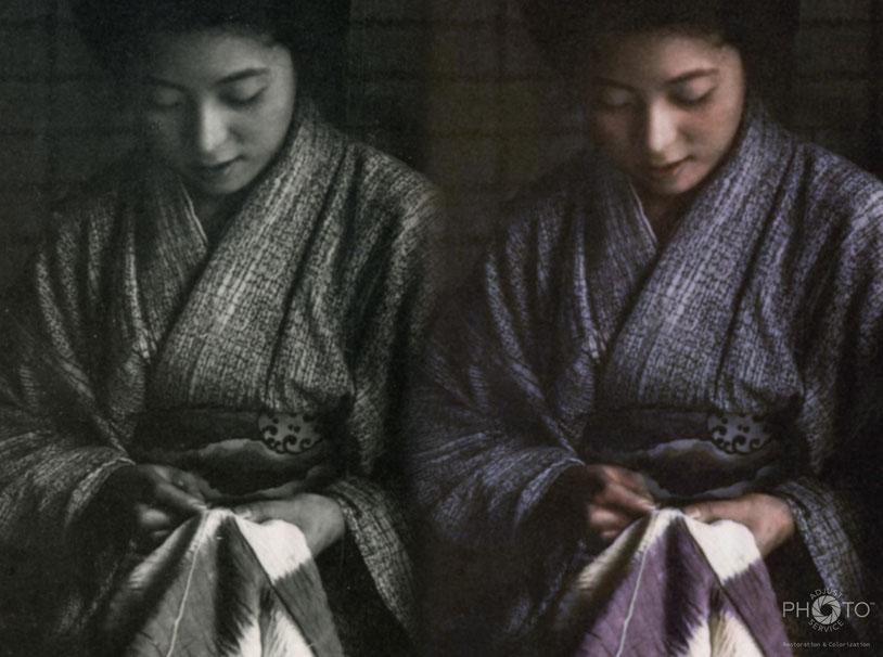 修復・色再現 作業前→作業後比較 石塚三郎氏撮影「縫物する女」