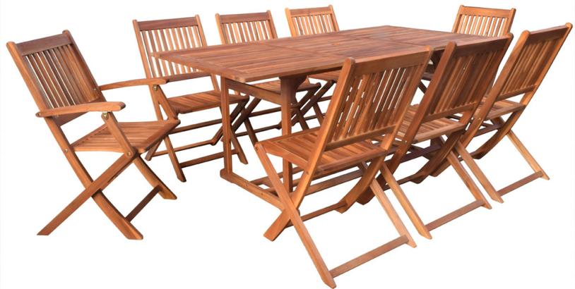 set giardino +acacia +sedie +outdoor +legno +8 +tavolo +sandro shop +online