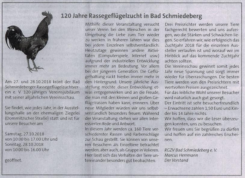 Bericht im Amtsblatt der Stadt Bad Schmiedeberg im Oktober 2018 anlässlich der 120-jährigen Jubiläumsschau
