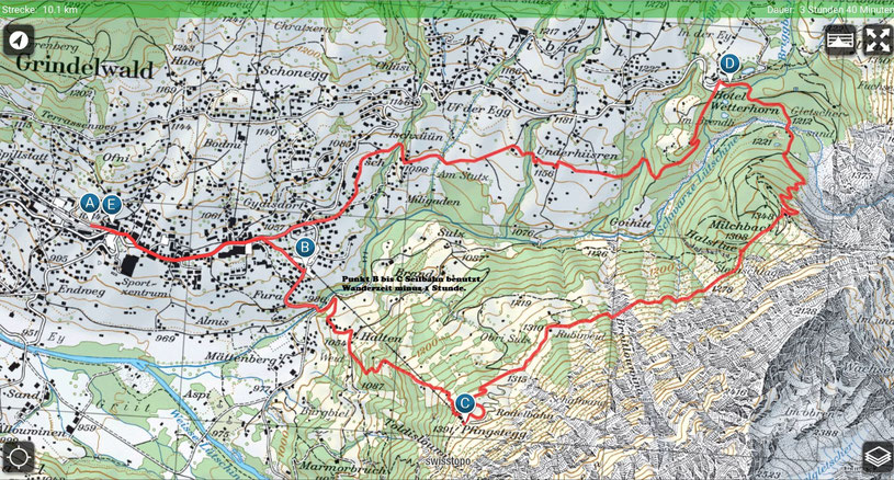 Wanderung Grindelwald - Pfingstegg - Hotel Wetterhorn - Grindelwald