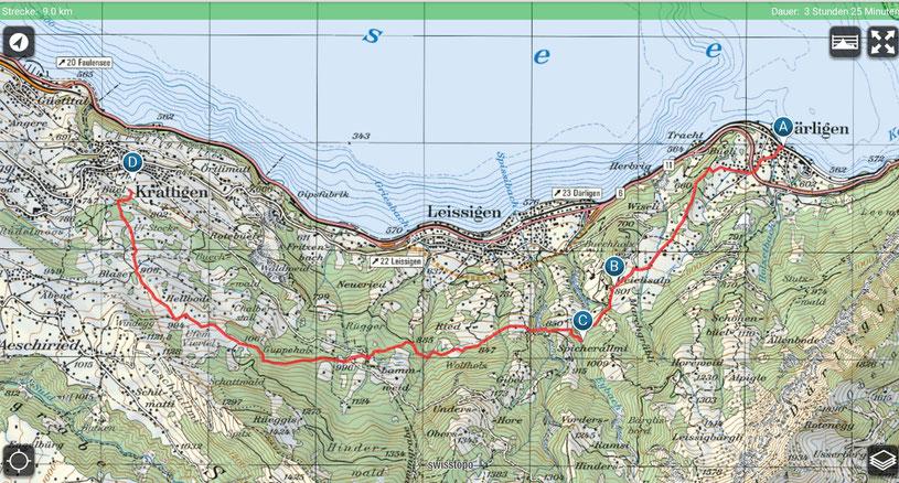 Wanderroute Därligen - Meielisalp - Krattigen