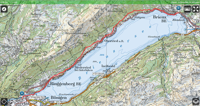Brienz - Oberried - Niederried - Ringgenberg - Interlaken - Brienzersee
