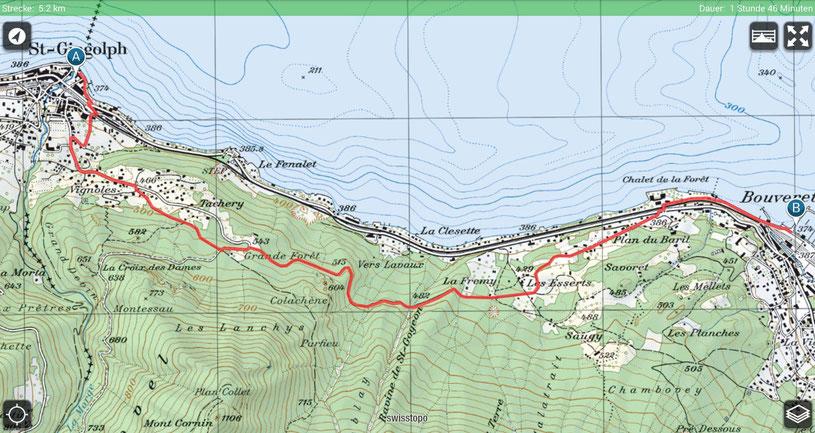 Wanderung von St. Gingolf nach Bouveret