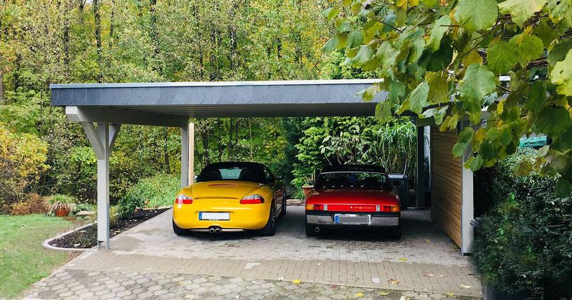 INDIVIDUAL Doppelcarport Classica MÜNCHEN GR mit 2/3 Gerätekammer | Extras hier RAL-Grundierung | LH-Breitblende