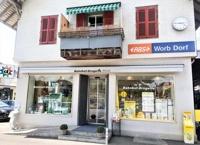 Bild: Aussenansicht Bahnhof-Drogerie Worb