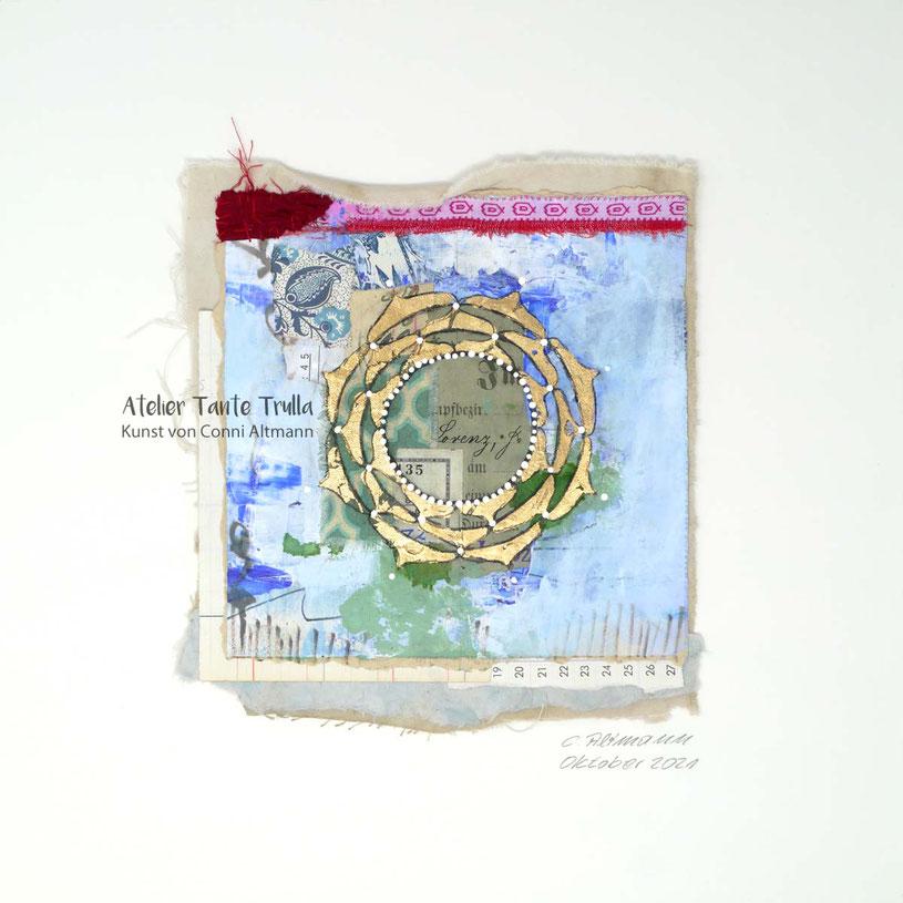 kleines Mandala-Gemälde mit Blattgold vom Künstler kaufen, www.ateliertantetrulla.de