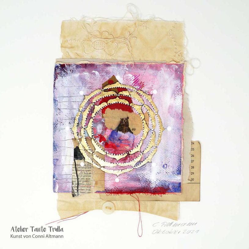 kleines Mandala-Gemälde mit Blattgold und Krafttier Bär, www.ateliertantetrulla.de