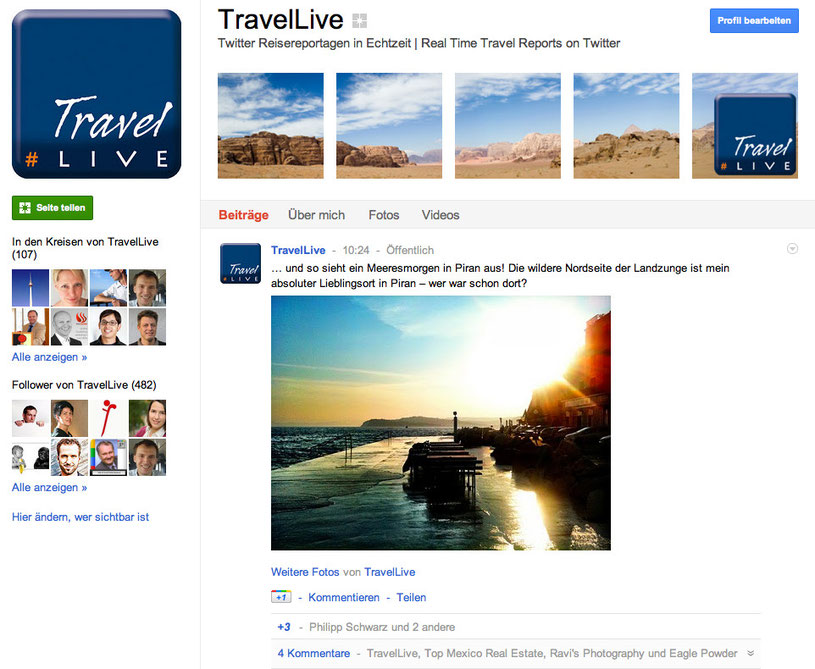 #TravelLive auf Google Plus