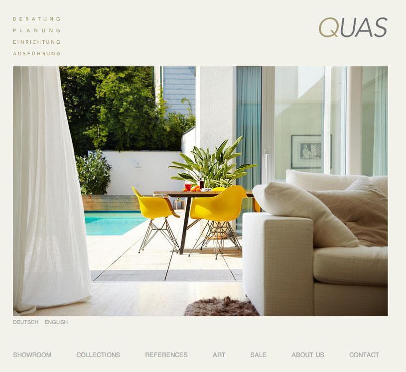 Für die neue Website des Interior Design Anbieters Quas in Wien wurde unter www.quas.at wurde auf der Basis eines Designs von Johannes Sekulic eine bildorientierte Seite aufgesetzt.