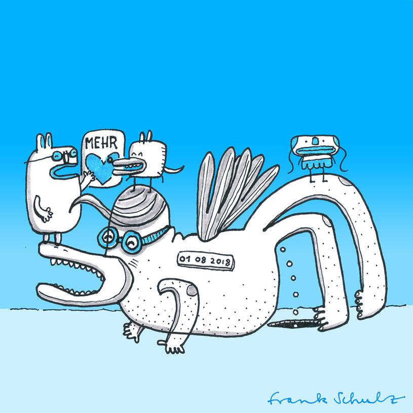 Illustration Fantasie Tier, Zeichnung mit Tusche und digitaler Farbe von Frank Schulz Art, zeigt Fantasie Tiere und Figuren vor blau