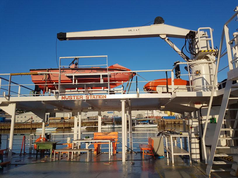 Muster Station der MS Sea Trident und Quartier für Kursteilnehmer
