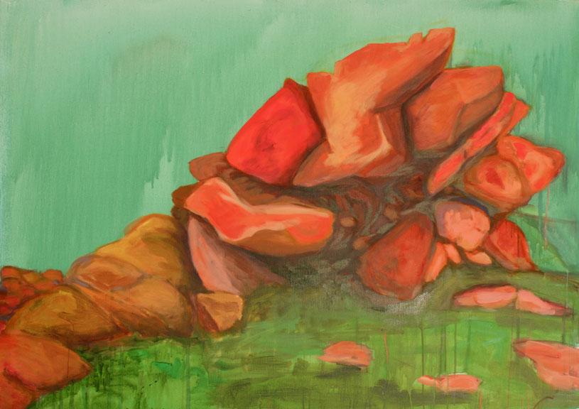 Ohne Titel orange, 2017 Acryl auf Leinwand 100x140