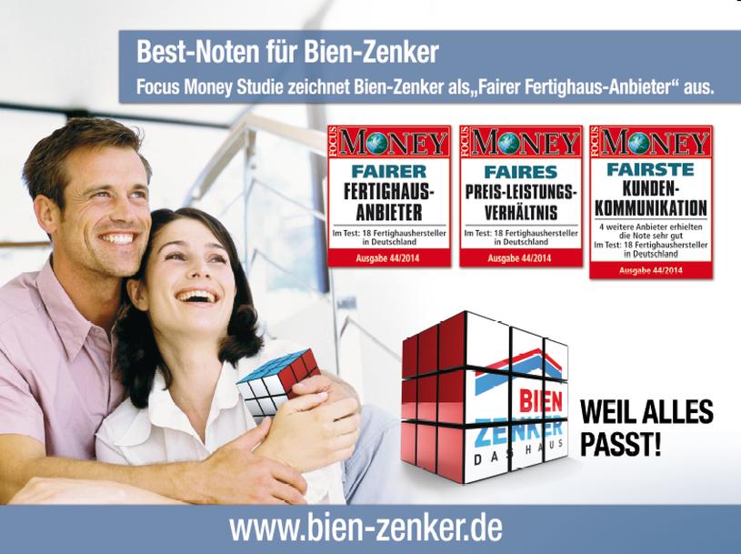 Focus Money - Bien Zenker - fairster Hausbauer - Fertighausanbieter - faires Preis- Leistungsverhältnis