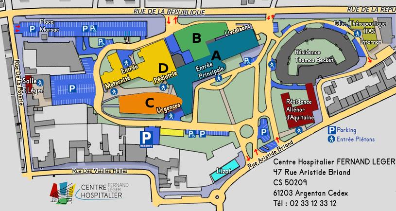 Plan du Centre Hospitalier Fernand Léger