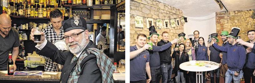 """Auch """"Kupferstädter Schotten"""" vom Clan der MacKinnons fühlen sich beim Stolberger St. Patrick's Day sichtlich wohl.  Im Burghaus feierte die Stolberger Junge Union mit ihren Gästen bei schwarzem """"Guinness"""" und grünem Pilsener."""