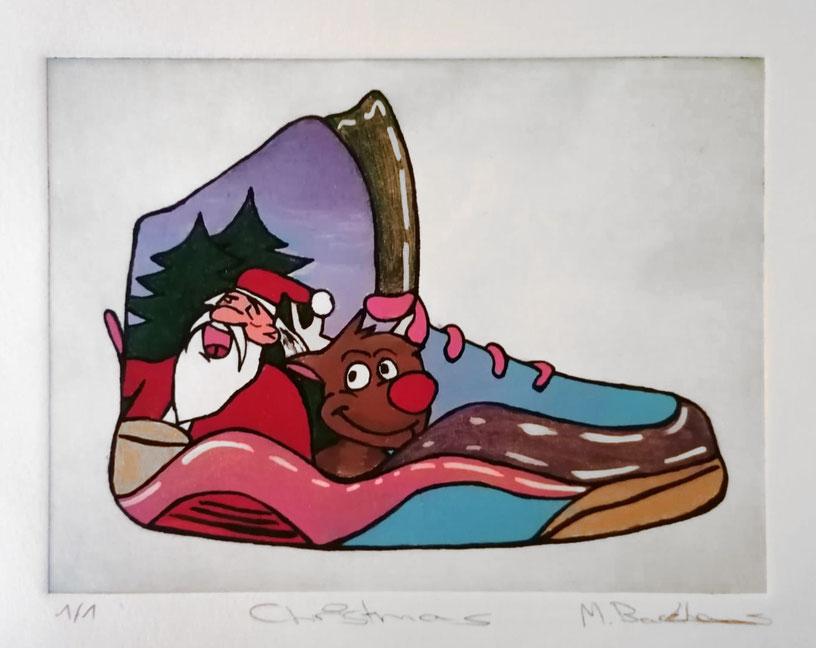 Marvin Backhaus nahm nach seinem Gewinn des ersten Preises im Förderpreis Junge Bildende Kunst 2020 des KunstVereins Ahlen an einem damit verbundenen Radier-Workshop teil. Eine Vielzahl von Radierungen habenseine bekannten bemalten Sneakers zum Thema.