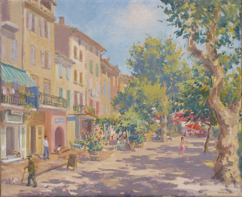 Tony Wahlander (Wåhlander) Paysage de Provence, Tableau d'une rue et ses cafés à Barjols