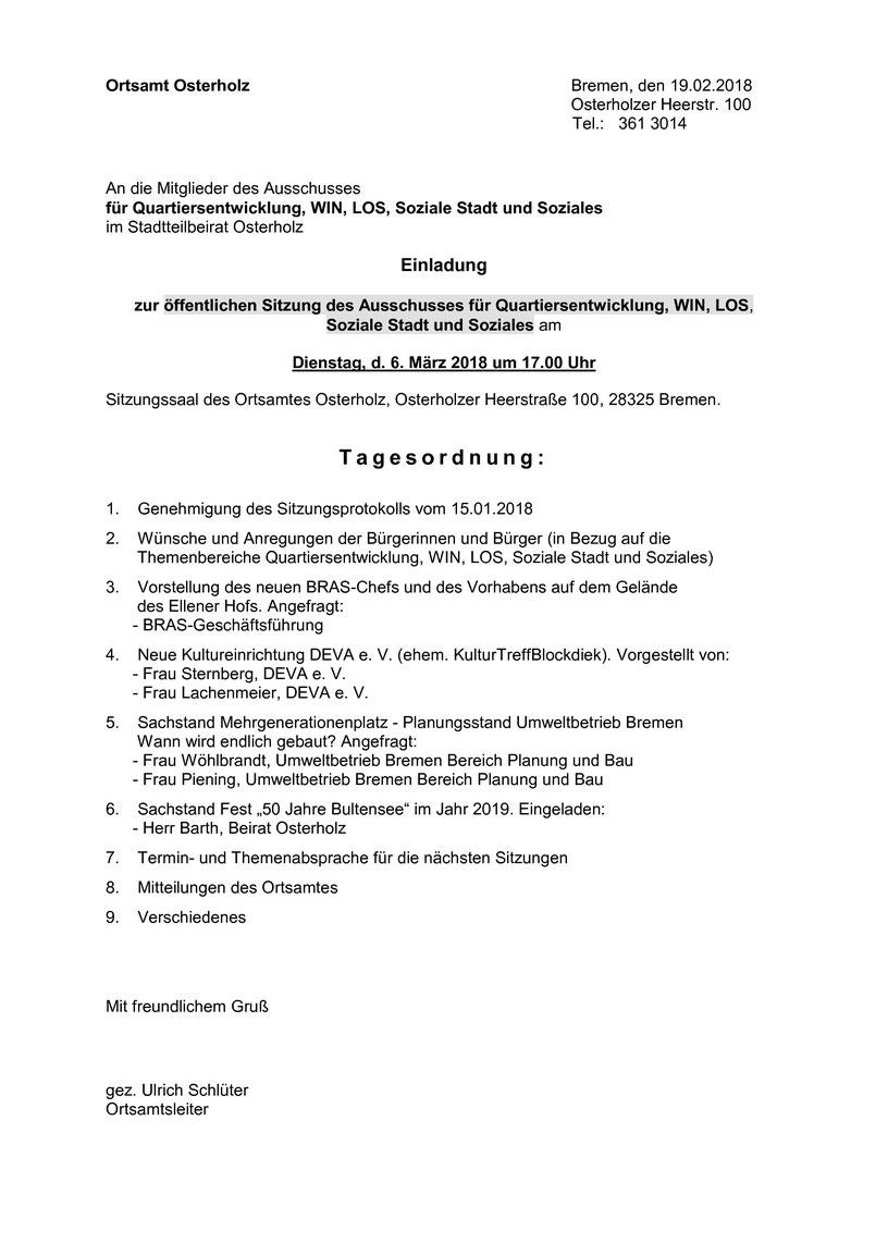 Öffentlichen Sitzung des Ausschusses für Quartiersentwicklung, WIN ...