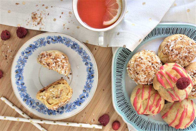 cream puff pastry pastries raspberry coconut recipe easy beginner lemonade pink custard homemade