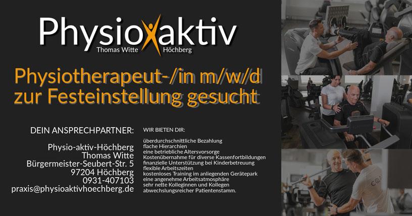 Physiotherapeut-/in m/w/d zur Festeinstellung und gerne auch auf 450 Euro-Basis in Würzburg / Höchberg gesucht