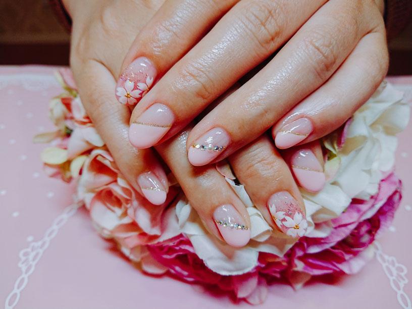金山ネイルサロンライム 桜ネイル 春ネイル
