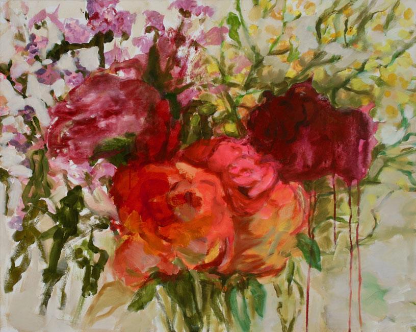 Les roses, 2018 Acryl auf Leinwand 80x100