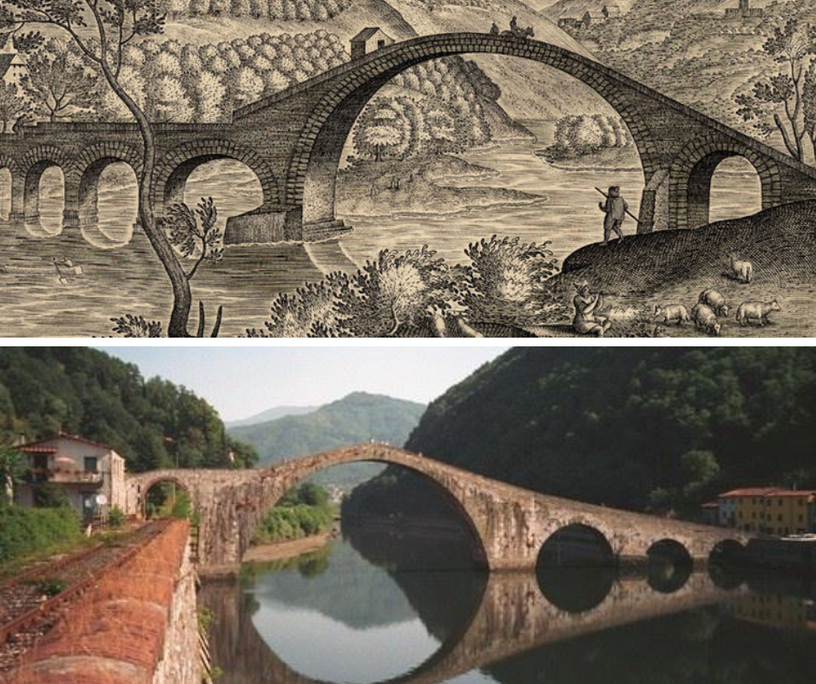 In the first photo the Devil's bridge in an engraving from the 16th century, in the second the bridge to the present day.