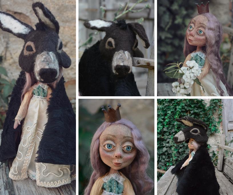 Bambola artistica ispirata a Pelle d'asino, la fiaba di Perrault.