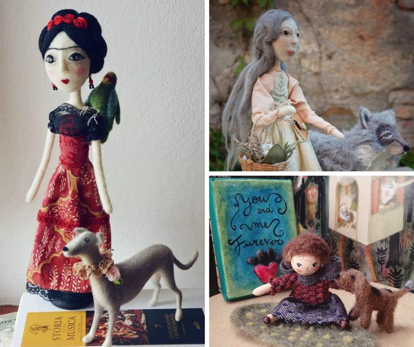 Ho sempre amato creare bambole che parlassero del rapporto con gli animali, mi interessa anche il concetto di animale guida.
