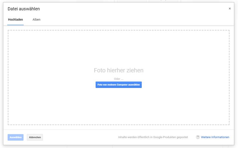 Screenshot des Produkt-Fotouploads in Google MyBusiness