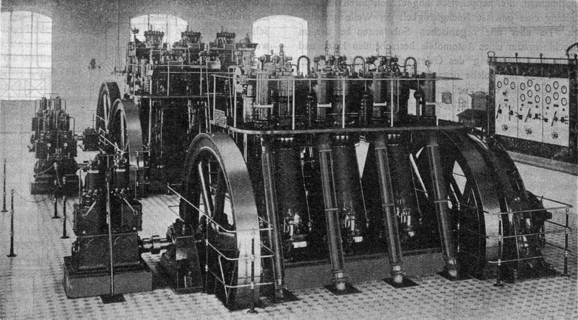 Diesel-Zentrale Schwechat, Anlagen II und III in einer Aufnahme aus dem Jahr 1911