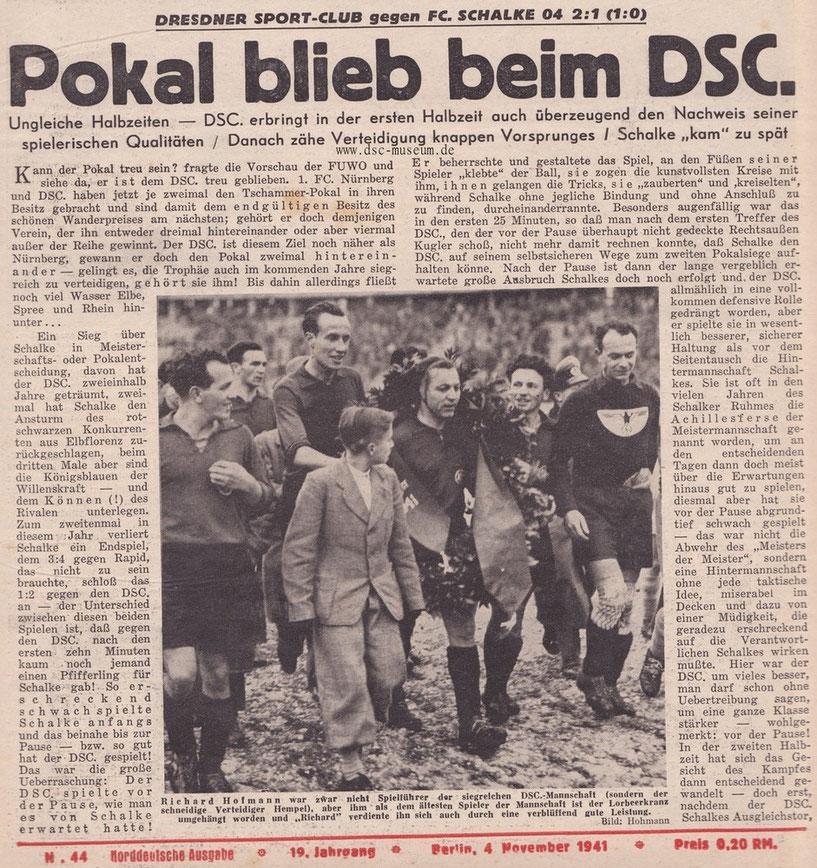 Spielbericht aus dem Kicker, Nr. 44, Jg. 19 (1941).