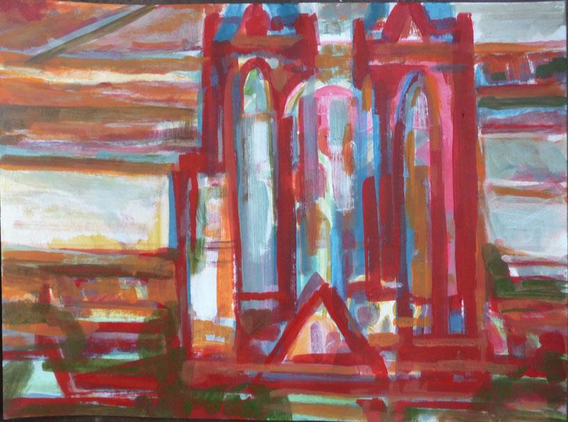 Elisabethkirche am Abend Acryl/ Papier DINA 3 2015