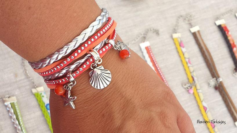 Bracelet PYLA manchette 2 tours coquillage étoile de mer soleil corail  argenté