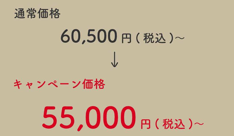 通常価格60,500円(税込)のところ、キャンペーン価格55,000円(税込)