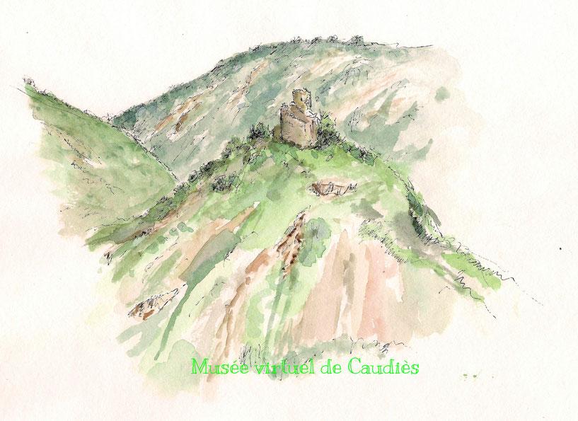 Aquarelle de Pierre Castillou: Castel Fizel vu de Notre-Dame de La Val (In Chemin et Histoire cathares)
