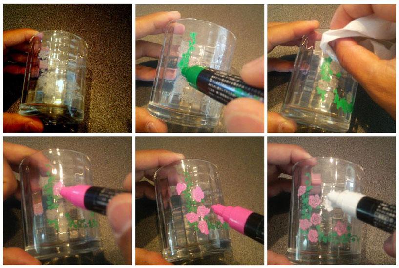 グラスの塗り絵 製作体験手順 7-Colors鶴岡ガラスアート工房