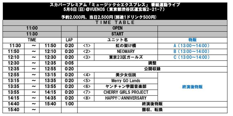 5月6日(日)渋谷VUENOS