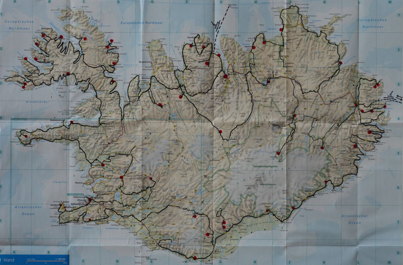 Unsere Strecke in Island/2014