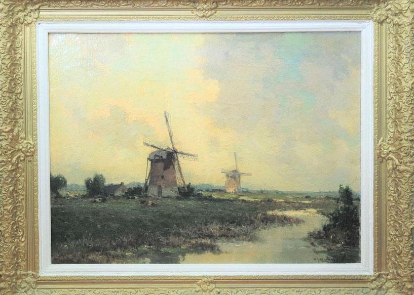 te_koop_aangeboden_een_kunstwerk_met_molens_van_de_nederlandse_kunstschilder_gerard_delfgaauw_1882-1947